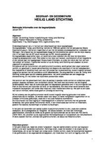 Beknopte Info 2017 Begraafpark Heilig Land Stichting